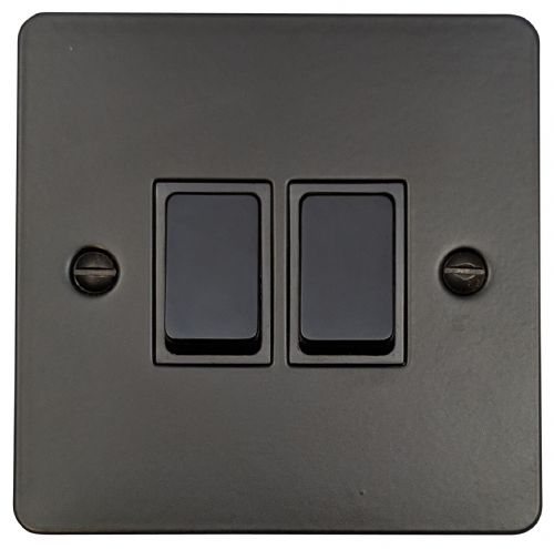 G&H FFB2B Flat Plate Matt Black 2 Gang 1 or 2 Way Rocker Light Switch